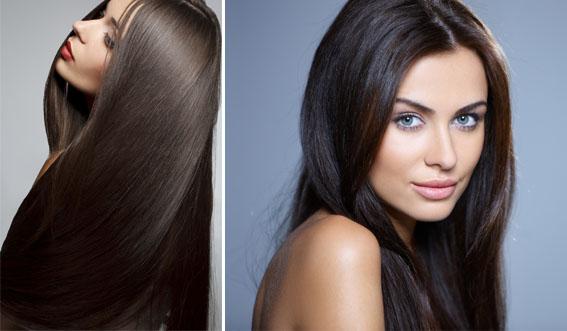 Девушка после кератинового выпремления волос