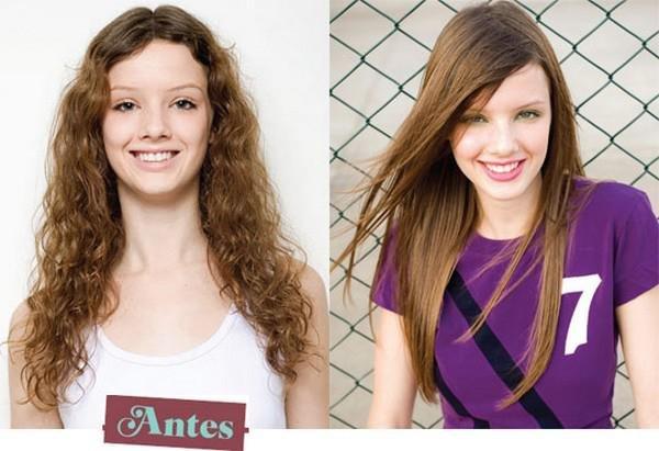 Девушка до и после кератинового выпрямления