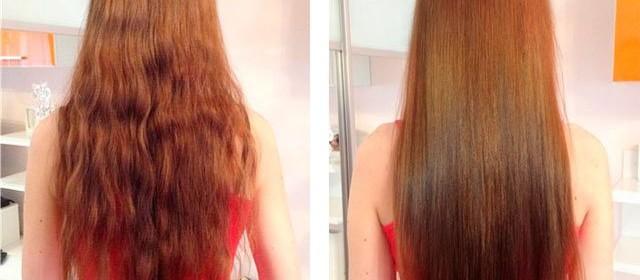 Девушка до и после экранирование волос