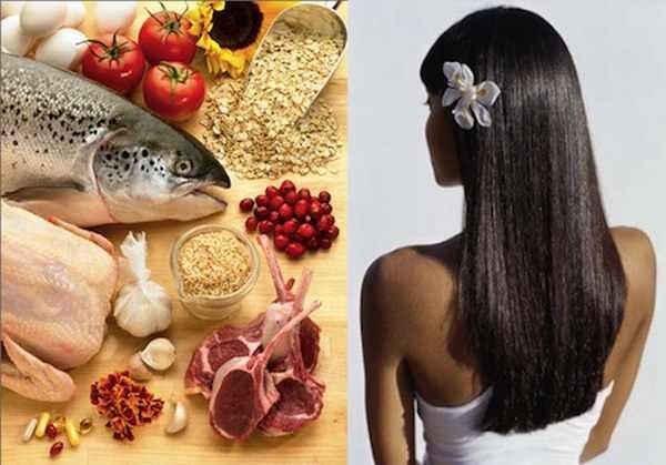 Девушка с хорошими волосами и продукты питания
