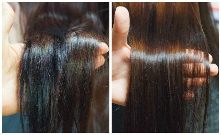 Секущиеся волосы, до и после