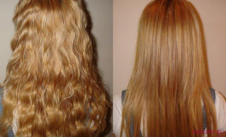 Волосы до выпрямления и после
