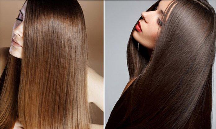 У девушек прямые, гладкие волосы