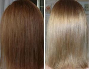 Волосы до и после смывки