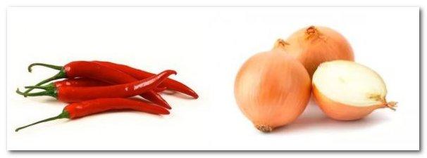 Репчатый лук и красный перец