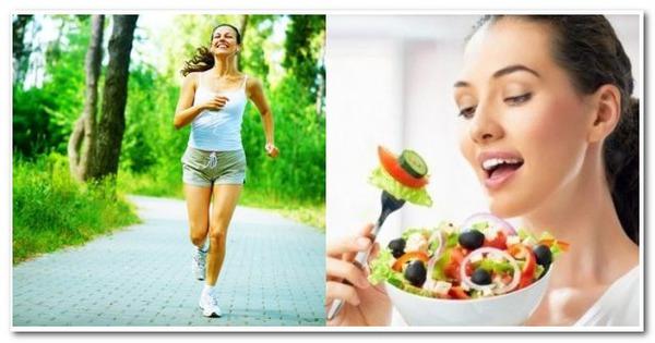 Одна девушка бежит, а другая ест салат
